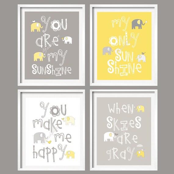 You Are My Sunshine - Yellow Gray Elephant Wall Art Prints - Baby Nursery bird Wall Art, boy girl baby shower YassisPlace 074