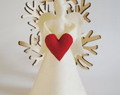 Angel Tree Topper With Heart/ Eco Felt Christmas Ornament / Christmas Decoration/Made To Order