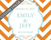 24 - 3.5 X 3.5 Personalized Labels - Chevron Design - ANY COLOR - wedding labels, favor labels, adhesive labels, custom labels
