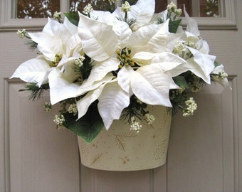 Winter Wreath, White Wreath, Berries Door Hanger, White Poinsettias Door Wreath, Floral Wreath, Wedding Decor