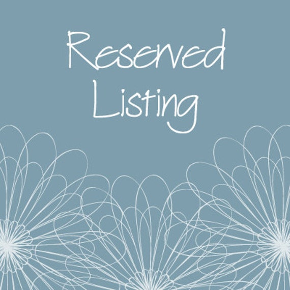 Reserved Listing for ratherthanrunning