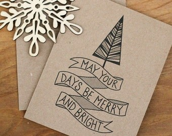 Christmas Cards Set of 20 - Merry and Bright Illustrated Holiday Cards