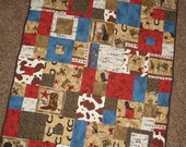 "Custom Order - Western, Cowboy, Rodeo Baby Quilt 36""x48  -  with Embroidered Name"