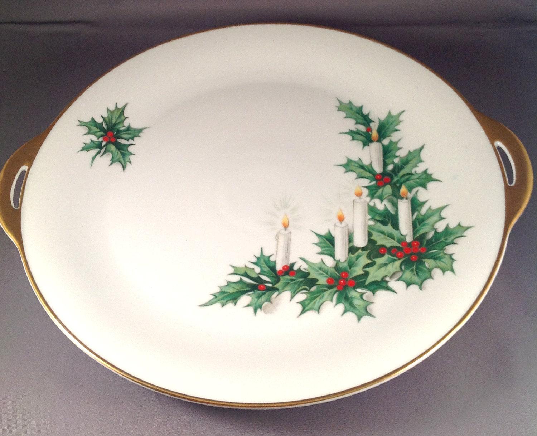 Tirschenreuth German Handled Porcelain Cake Plate Gilded