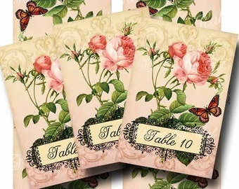 Wedding Table Numbers TRUE LOVE Digital Collage Sheet Set of 10 Romantic Pink Roses Butterfly Tented Cards Instant Download GalleryCat CS192