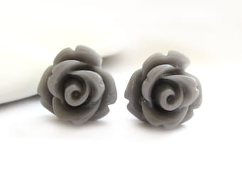 SALE - Grey Rose Stud Earrings