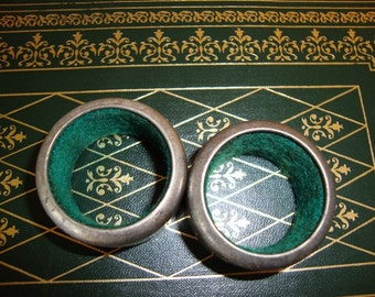 Two Vintage Metal Round Napkin Rings Lined with Green Felt Fabric