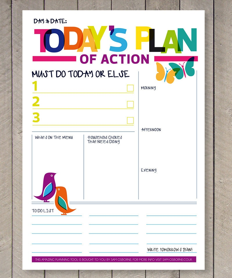Striking image in daily to do list printable