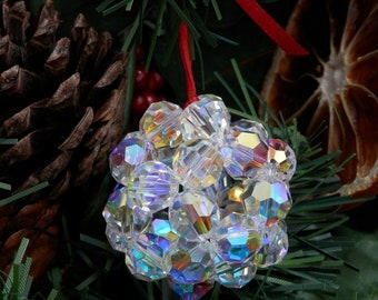 Christmas Tree Sparkly Ball Decorations. Festive Ornaments with Swarovski Crystals.