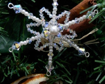 Small Snowflake Decoration for Christmas Tree: Festive Ornaments with Swarovski Pearls & Crystals