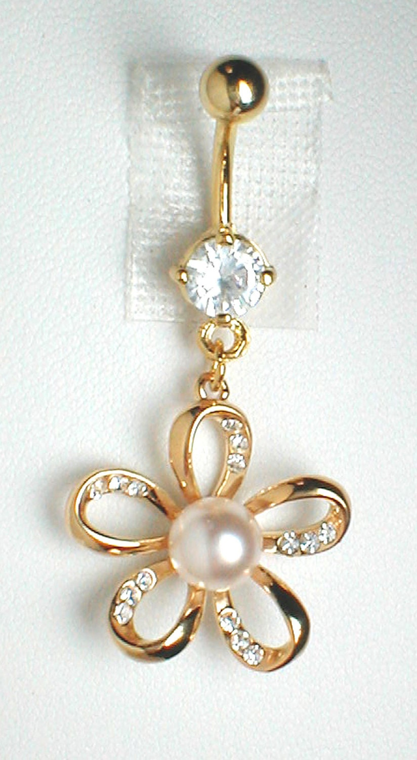 unique belly ring 9k gf flower with cz s and a pearl