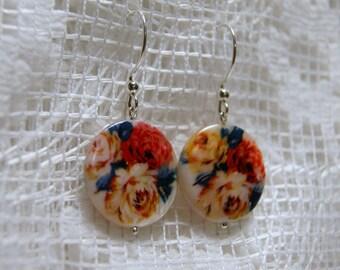 "Rose Printed Shell Sterling Silver Dangle Earrings--""Walk in the Rose Garden"""