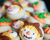5 dozen mini Harvest Cookies - 30 Scarecrow & 30 Pumpkin cookie nibbles - CraftedCookies