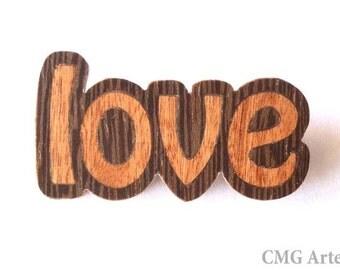 Love brooch, Wooden brooch, Wood inlay brooch, Marquetry brooch, Wooden jewelry, Ecofriendly jewelry, Casual jewelry, Wood jewelry,Love wood