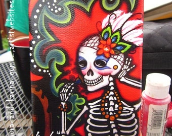 Inner Beauty - Belleza Interior - Mini Canvas Art Print Reproduction by Karina Gomez - 4 in x 6 in - Wood Easel included -Day of the Dead