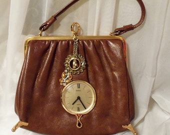 Steampunk Clock Purse, Unique brown vintage handbag adorned with vintage jewelry with working clock