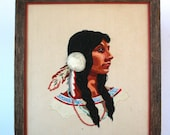 Vintage Embroidered Native American Woman: Fiber Folk Art