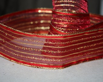 S A L E  2 yards Ribbon - Tape with Wired Edging is Gorgeous Home Decor