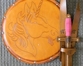 DAGGER Set - Dagger, Shield, & sword Belt w/ Unicorn Emblem - Handmade Leather