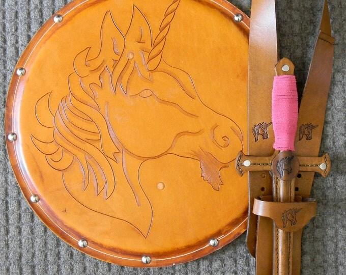 DAGGER Set - Dagger, Shield, & sword Belt w/ Unicorn Emblem - Handmade Leather