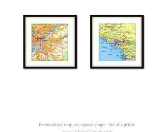Set of 2 Personalized Map Prints, for Anniversary Gift, Housewarming, 1st Anniversary - Map Art Wall Decor with Any Two Locations