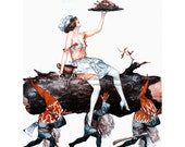 Christmas Elves Card - Herouard Girl w Dwarves or Tomte Carries Turkey - Gnomes with Yule Log