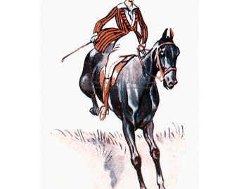 Horse Greeting Card - Girl and Horse Jumping Over Wall - French Artist Neziere