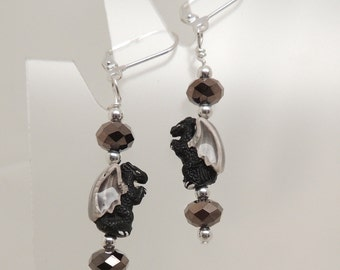 Tiny Black Dragon Pierced Earrings