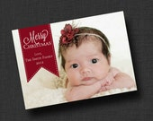 Merry Christmas Card with Photo (Digital File)