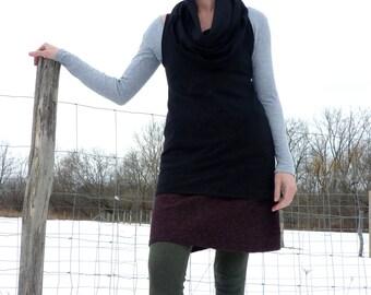 Organic Clothing Organic Cotton Sleeveless Cowl Tunic Bamboo Clothing Open Neck Black Dress Woodland Eco Chic Apparel Urban Stylish Fashion