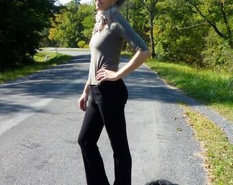 Organic Clothing Merino Wool Pocket Pants Organic Wool Knit Black Dress Pants Low Cut Womens Hip Huggers Wool Work Pants Made to Order