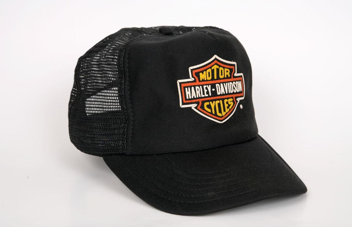 Harley Davidson Trucker Hat Black With Orange By Thevintagehog