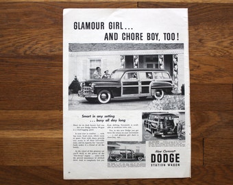 Vintage August 29, 1949 Dodge Station Wagon Advertisement Life Magazine