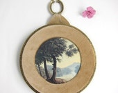 Round Vintage Wall Plaque, Water Tree Scene, Gold with Tan Velvet
