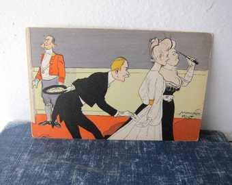 Postcard, Mondain Flirt, Butler Passing Love Note, Unused