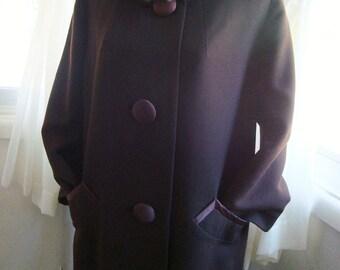 Dark Brown Swing Coat With Beautiful Satin Trim and Fur Collar