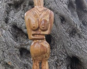 Cycladic Figure hand carved olive wood sculpture