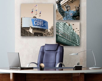 CUSTOM for Natalie: Chicago Cubs Canvas Office Set - 3 Wrigley Field Canvas Prints