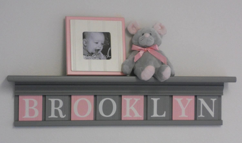 Pink And Gray Nursery Girl Wall Decor Grey Shelf Sign With