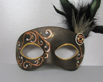 Black, Bronze, and Gold Leather Masquerade Mask