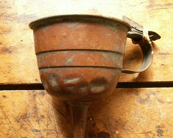 Vintage Large Handmade Copper Funnel with Filter