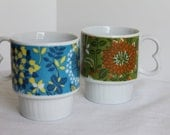 Set of Two Vintage Bright Painted Flower Mugs Stackable    Japan     Retro
