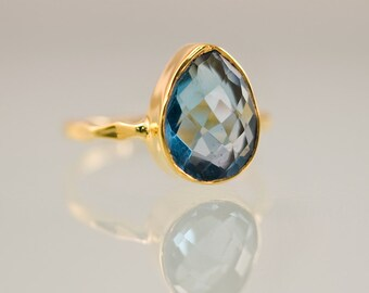 London Blue Topaz Ring Gold - December Birthstone Ring - Gemstone Ring - Stackable Ring - Gold Ring - Tear Drop Ring