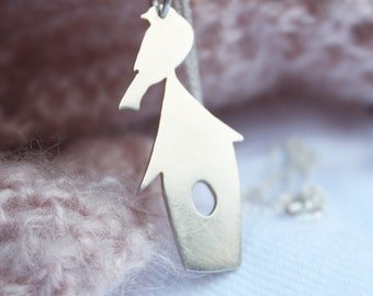 bird necklace / bird house pendant / bird watching / house pendant
