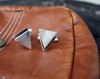 mens cufflinks chevron triangle cufflinks sterling silver cuff links guys jewelry goomsmen best man gift