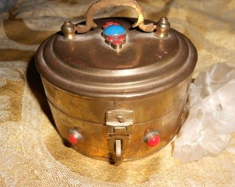 Turquoise Brass  Box 60s Hippie Stash Style Lidded Box With Lovely Turquoise & Red Coral Ornamentation