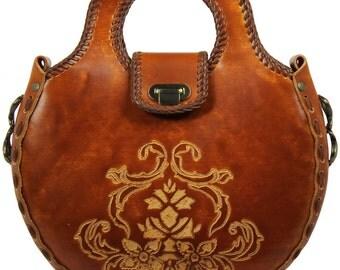 Tooled Leather Handbag -  Echo