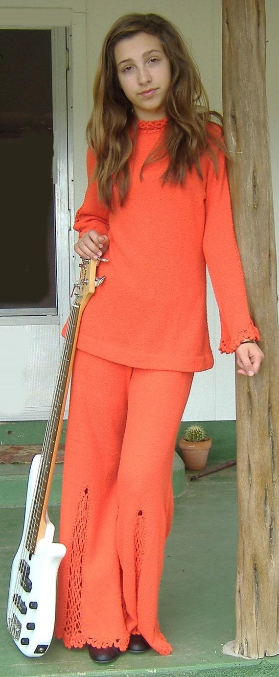 Vintage 1960's Bell Bottom Pantsuit / Dolphin of California / Orange Knit Bell Bottoms