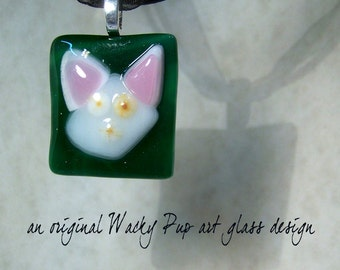 Pinky & The Brain Cat Lover Fused Glass White Cat Pendant Pinky and the Brain Necklace Artisan Charm OOAK