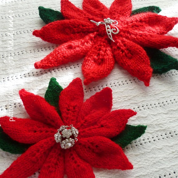 American Knitting Abbreviations Ssk : Poinsettia flower woman accessory knit pattern pdf by bysol